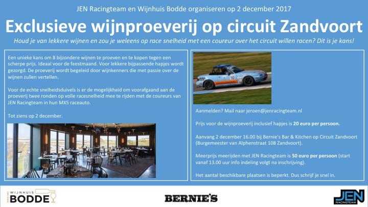 JEN Racingteam organiseeert samen met Wijnhuis Bodde proeverij op Circuit Zandvoort